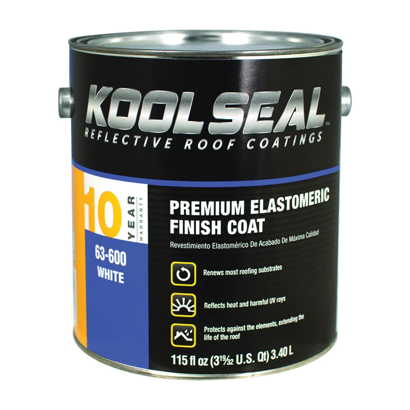 Picture of KOOL SEAL KS0063600-16 Elastomeric Roof Coating, White, 1 gal, Pail, Liquid