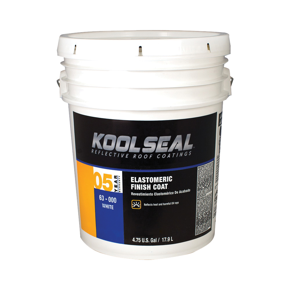 Picture of KOOL SEAL KS0063000-20 Elastomeric Roof Coating, White, 4.75 gal, Pail, Liquid