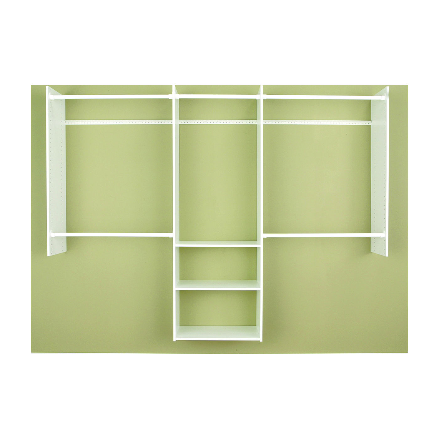 Picture of Easy Track RB1460 Deluxe Starter Closet, 48 to 96 in W, 84 in H, 3-Shelf