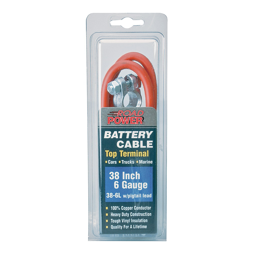 Picture of CCI Maximum Energy 38-6L Battery Cable with Lead Wire, 6 AWG Wire, Black Sheath