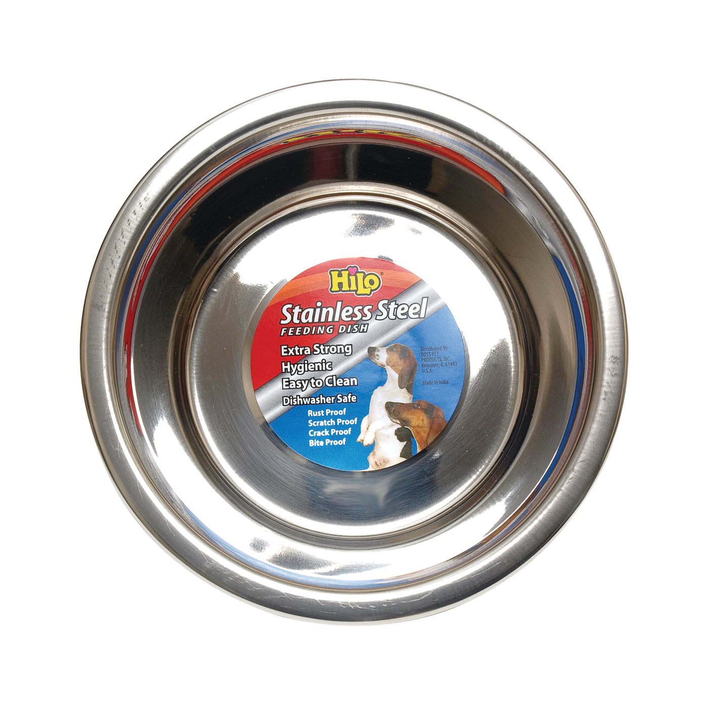 Picture of HiLo 56620 Pet Feeding Dish, M, 2 qt Volume, Stainless Steel