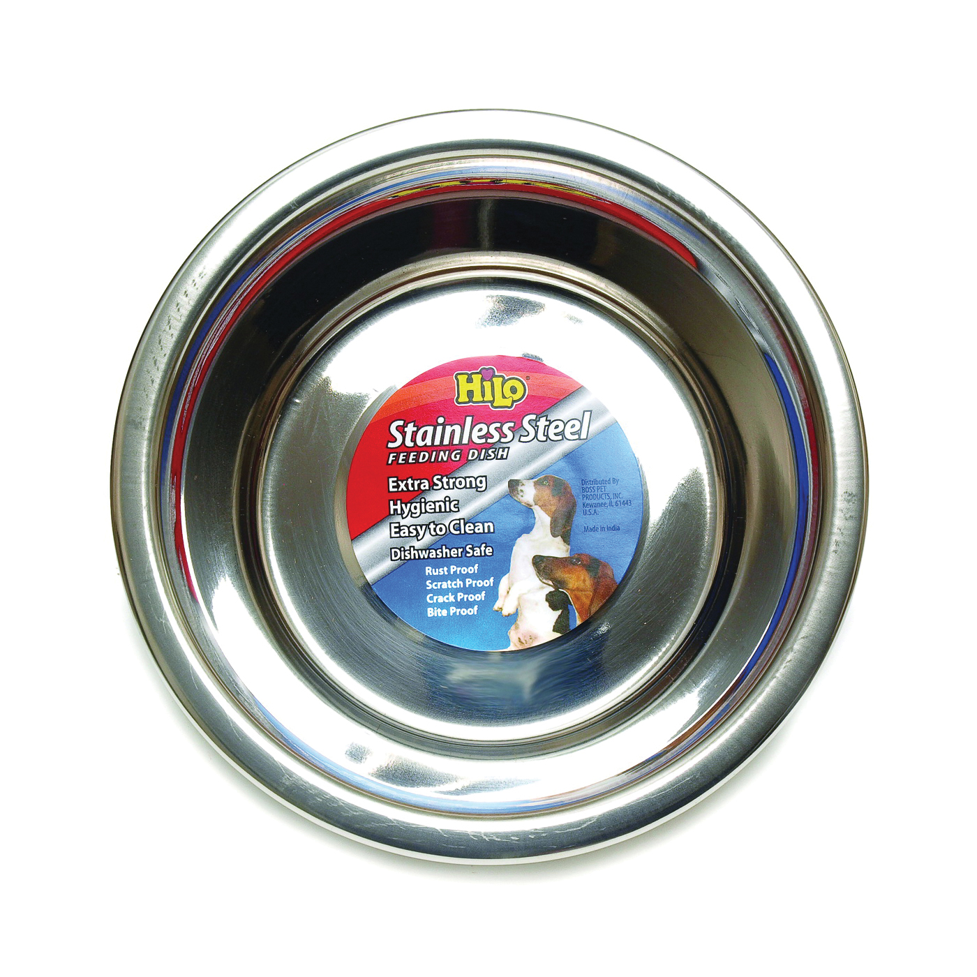 Picture of HiLo 56670 Pet Feeding Dish, 5 qt Volume, Stainless Steel