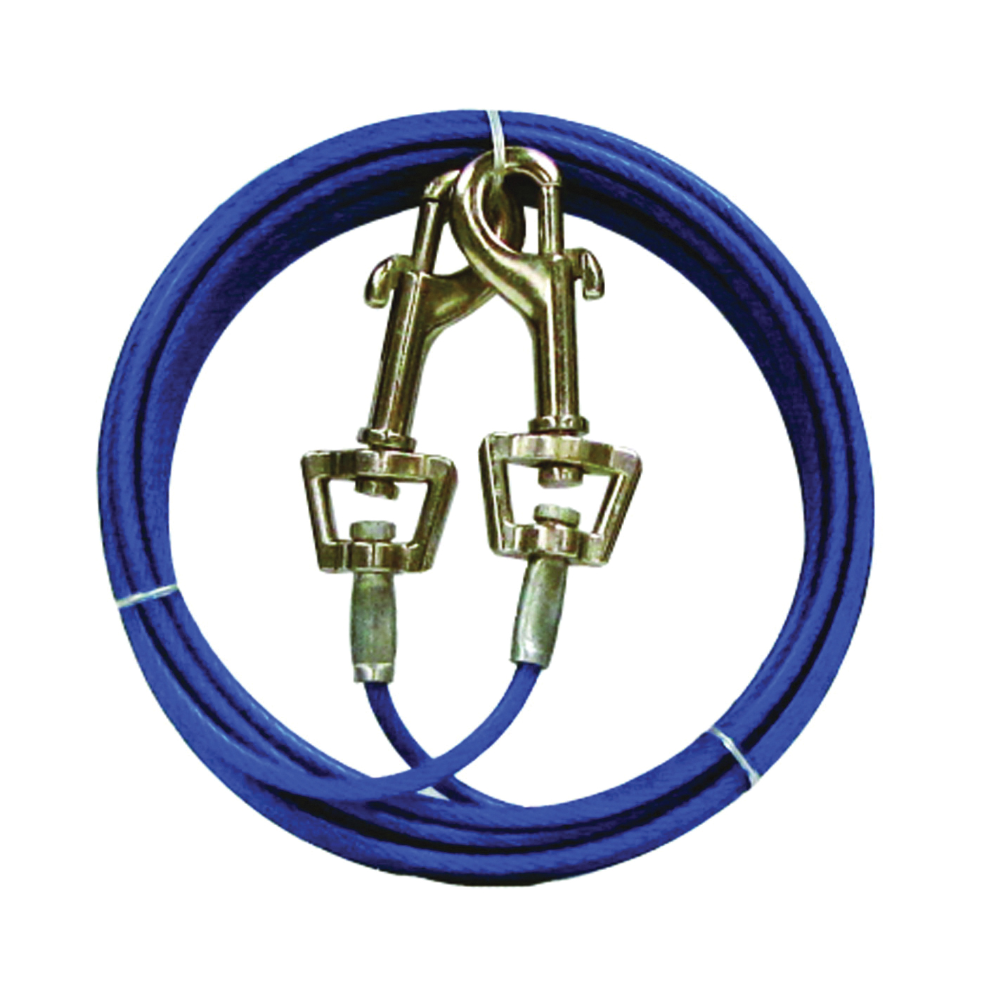 Picture of Boss Pet PDQ Q231500099 Pet Tie-Out Belt with Twin Swivel Snap, 15 ft L Belt/Cable, For: Medium Dogs Up to 35 lb