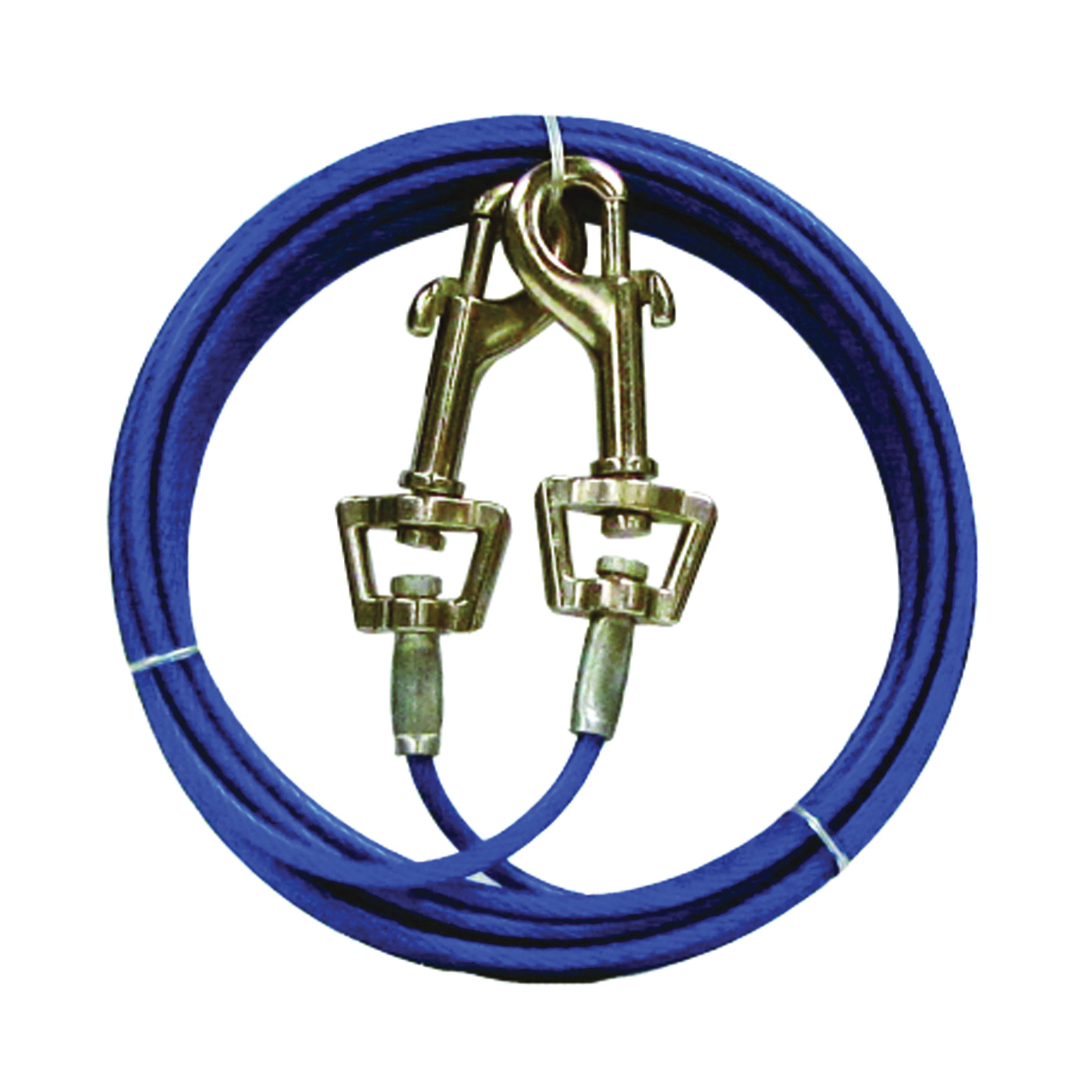 Picture of Boss Pet PDQ Q233000099 Pet Tie-Out Belt with Twin Swivel Snap, 30 ft L Belt/Cable, For: Medium Dogs Up to 35 lb