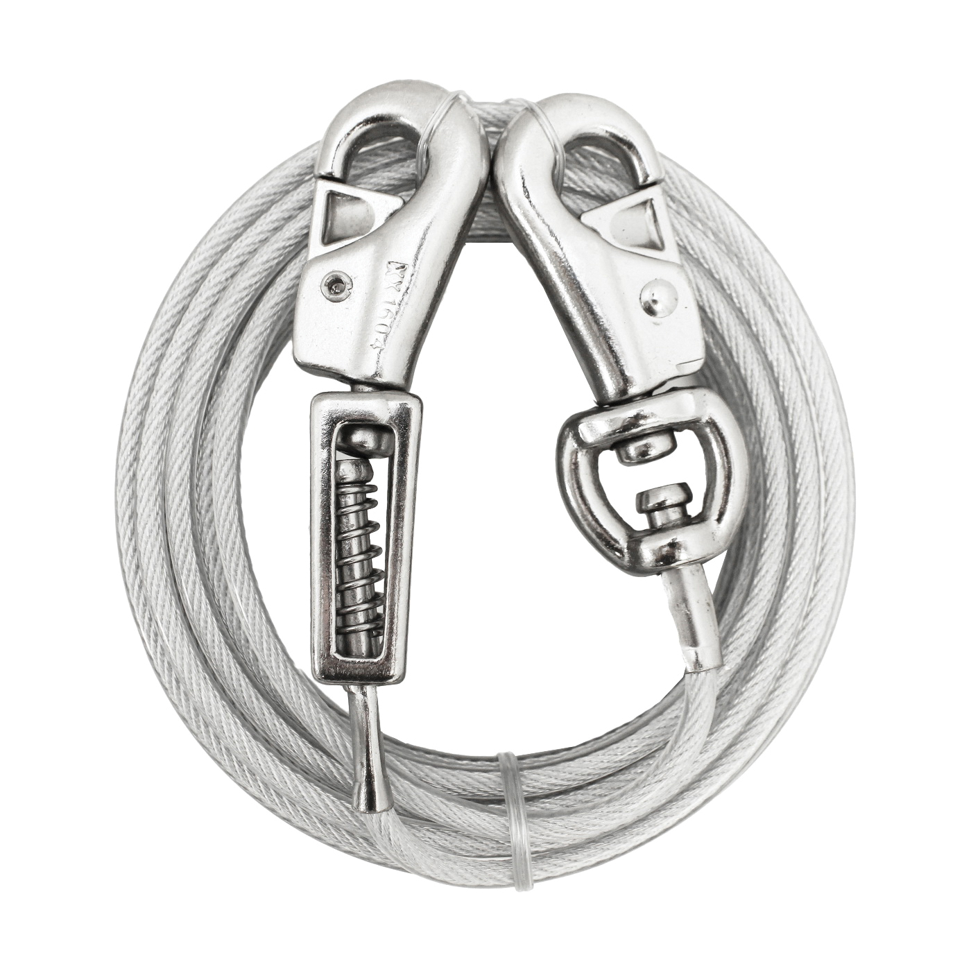 Picture of Boss Pet PDQ Q5715SPG99 Tie-Out with Spring, 15 ft L Belt/Cable, For: Extra Large Dogs Up to 125 lb