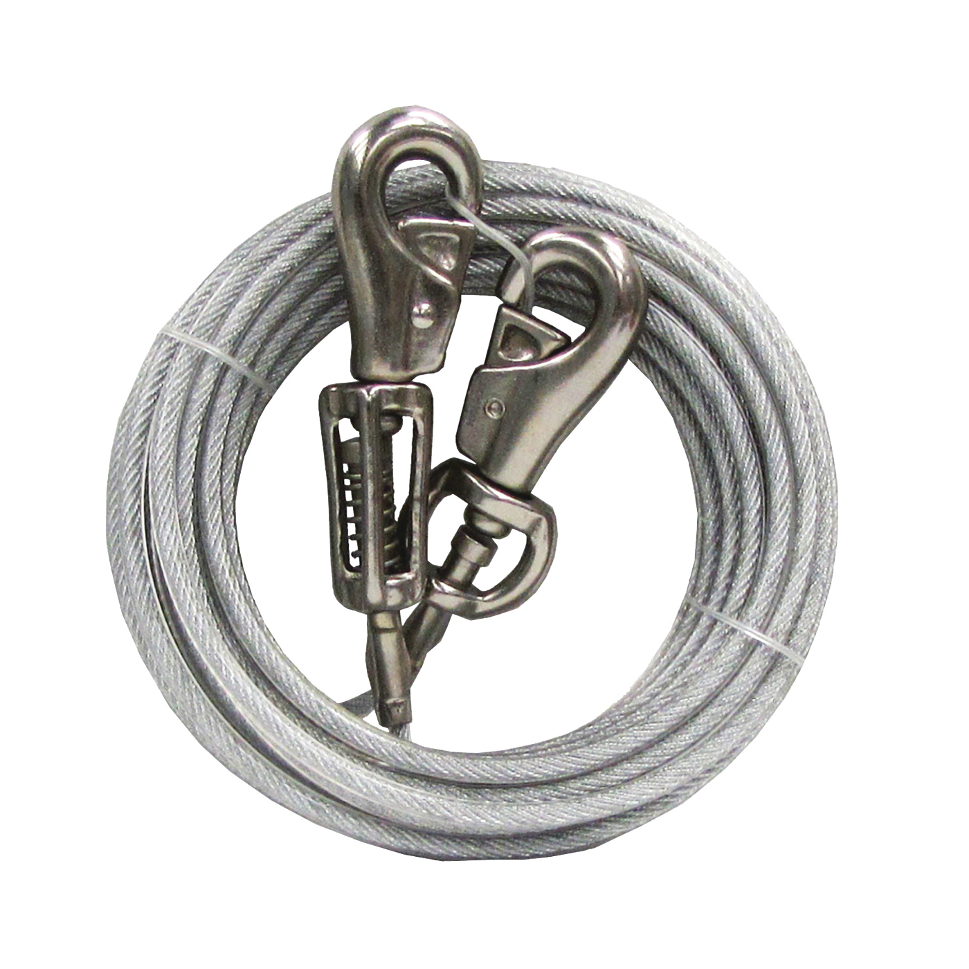 Picture of Boss Pet PDQ Q5720SPG99 Tie-Out with Spring, 20 ft L Belt/Cable, For: Extra Large Dogs Up to 125 lb