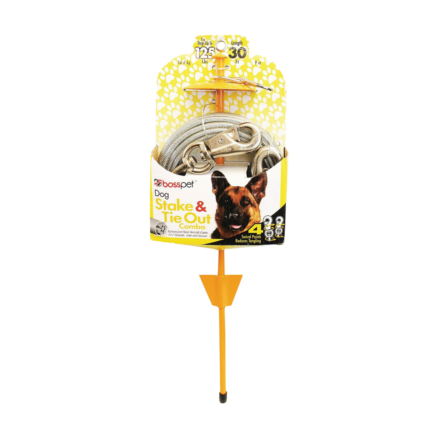 Picture of Boss Pet PDQ Q5730DOM99 Tie-Out/Dome Stake Combo, 30 ft L Belt/Cable, For: Dogs Up to 125 lb