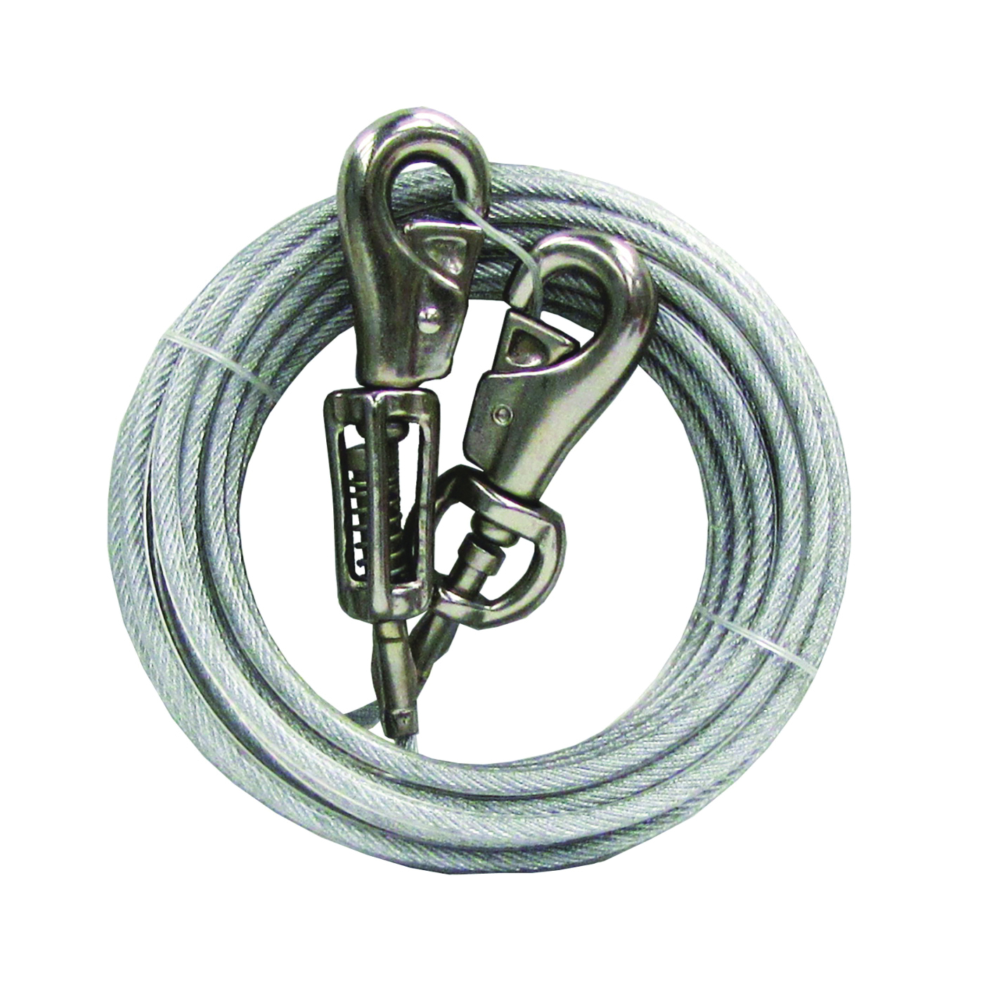 Picture of Boss Pet PDQ Q5730SPG99 Tie-Out with Spring, 30 ft L Belt/Cable, For: Extra Large Dogs Up to 125 lb
