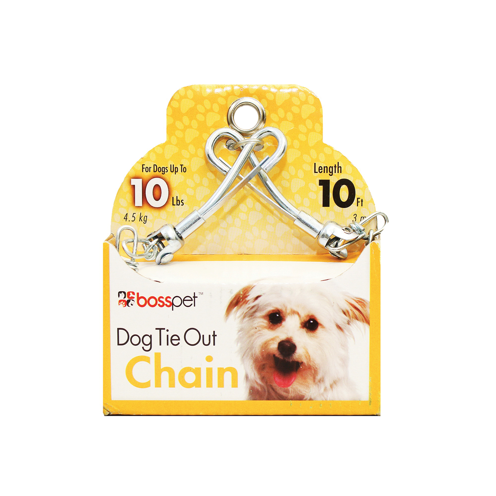 Picture of Boss Pet PDQ 53010 Pet Tie-Out Chain with Swivel Snap, Twist Link, 10 ft L Belt/Cable, Steel