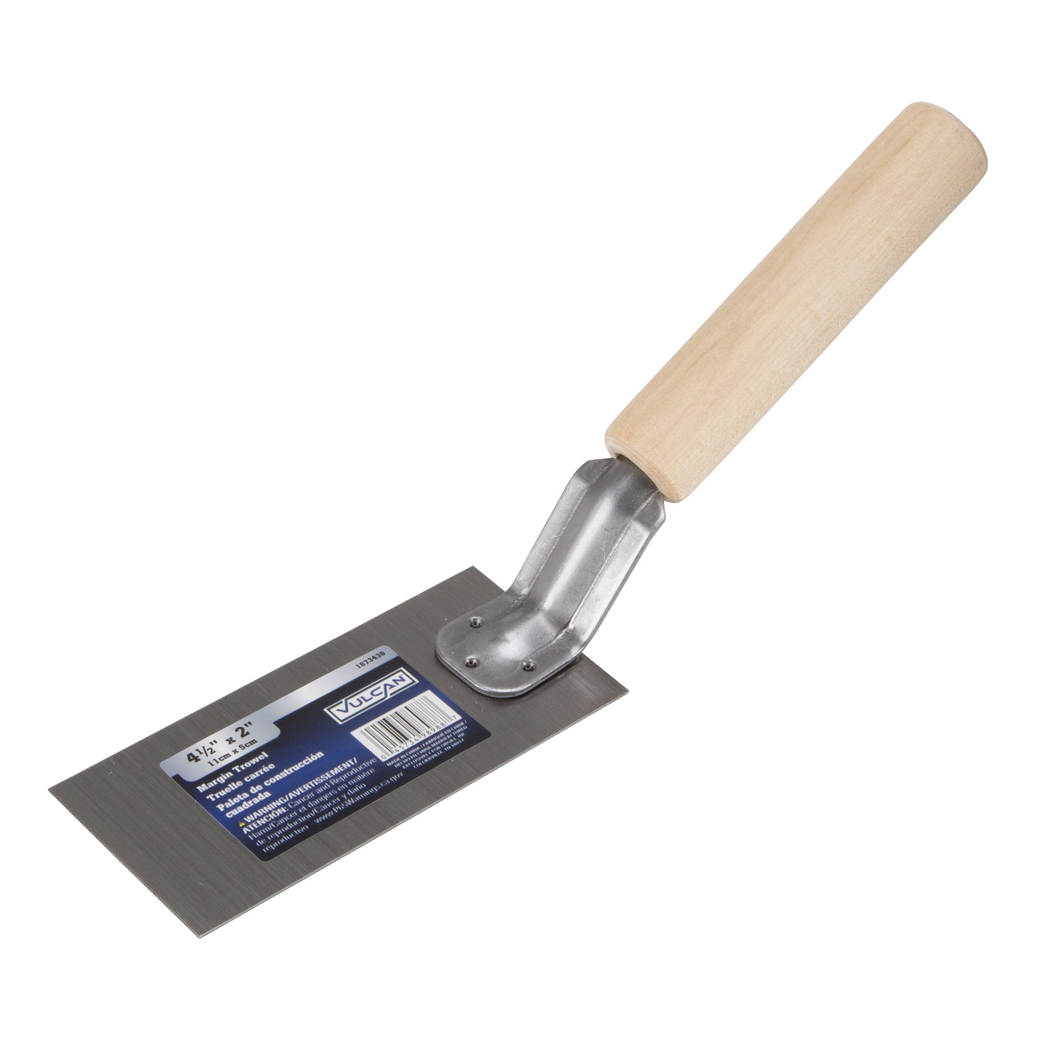 Picture of Vulcan PT-120233L Margin Trowel, 4-1/2 in L Blade, 2 in W Blade, Carbon Steel Blade, Hardwood Handle