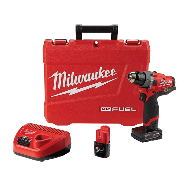 Picture of Milwaukee 2504-22 Hammer Drill Kit, Kit, 12 V Battery, 2, 4 Ah, 1/2 in Chuck, Ratcheting Chuck, 0 to 25,500 BPM