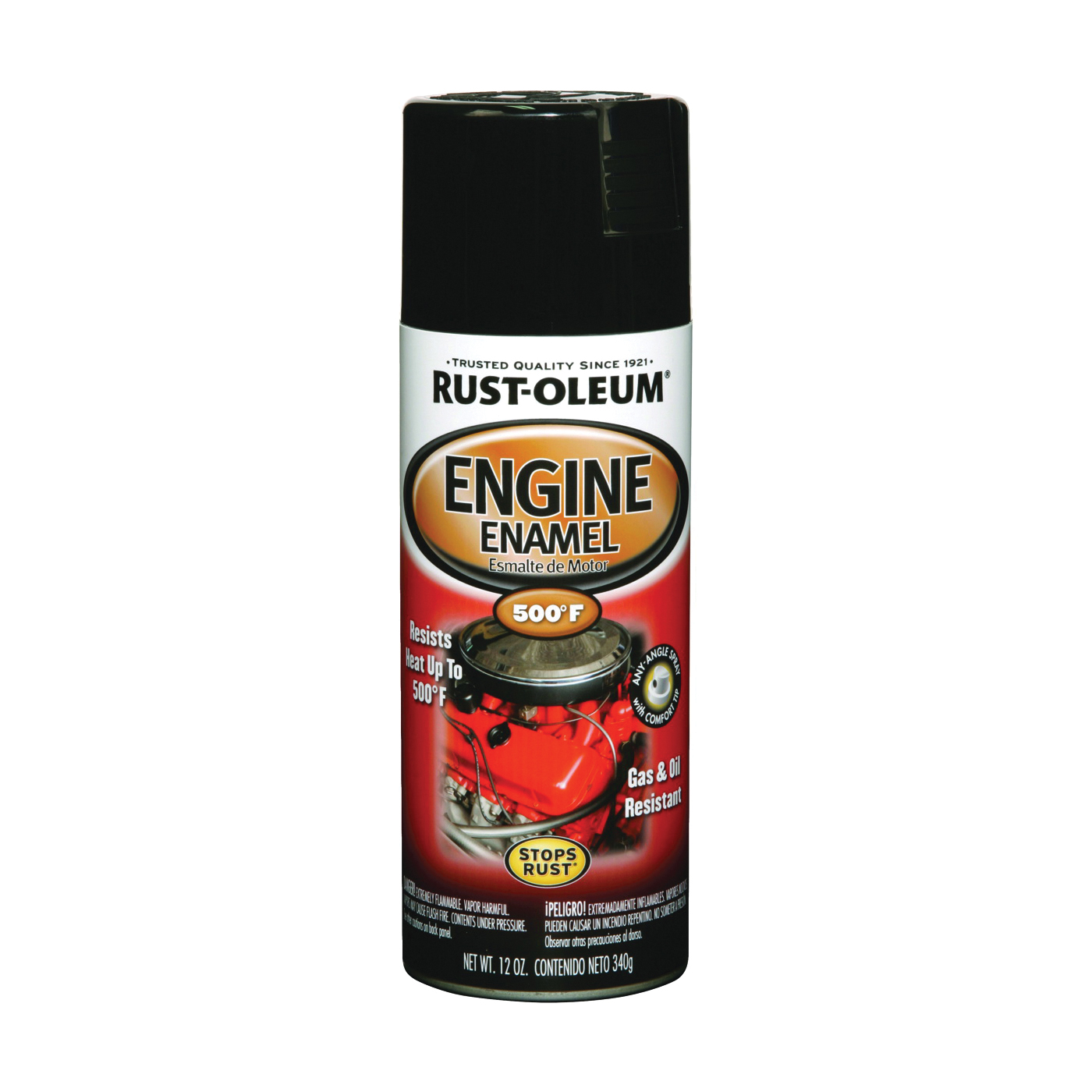 Picture of RUST-OLEUM AUTOMOTIVE 248932 Engine Enamel Spray Paint, Black, 12 oz, Aerosol Can