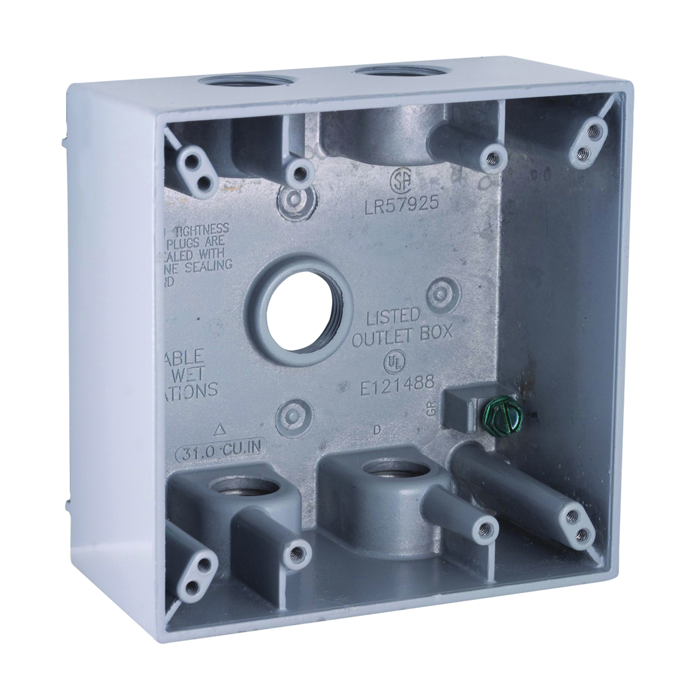 Picture of HUBBELL 5337-5 Box, 5-Outlet, 2-Gang, Aluminum, Gray, Powder-Coated