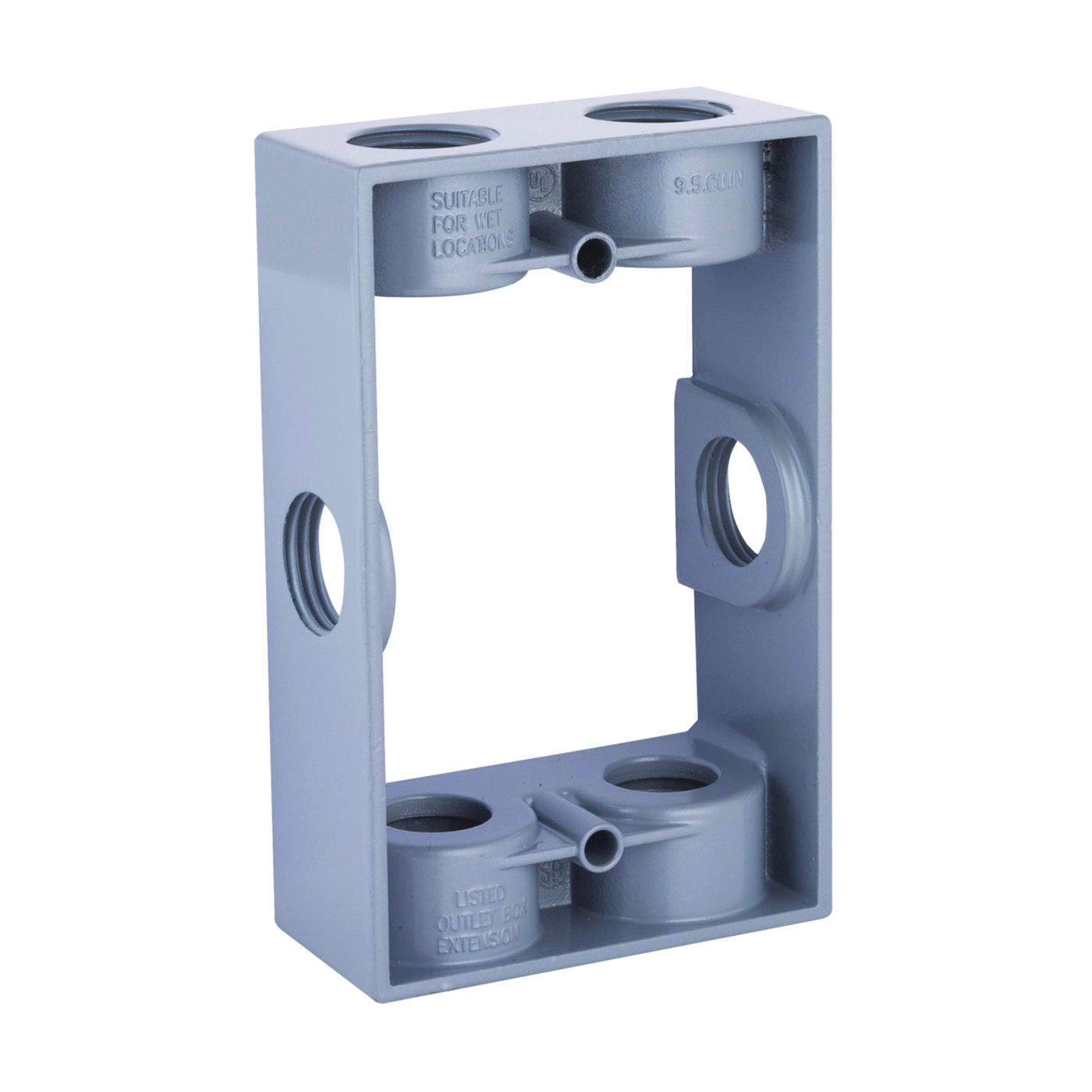 Picture of HUBBELL 5400-5 Extension Adapter with Lug, 5-1/4 in L, 3-1/2 in W, 1-Gang, 6-Knockout, Die-Cast Aluminum, Gray