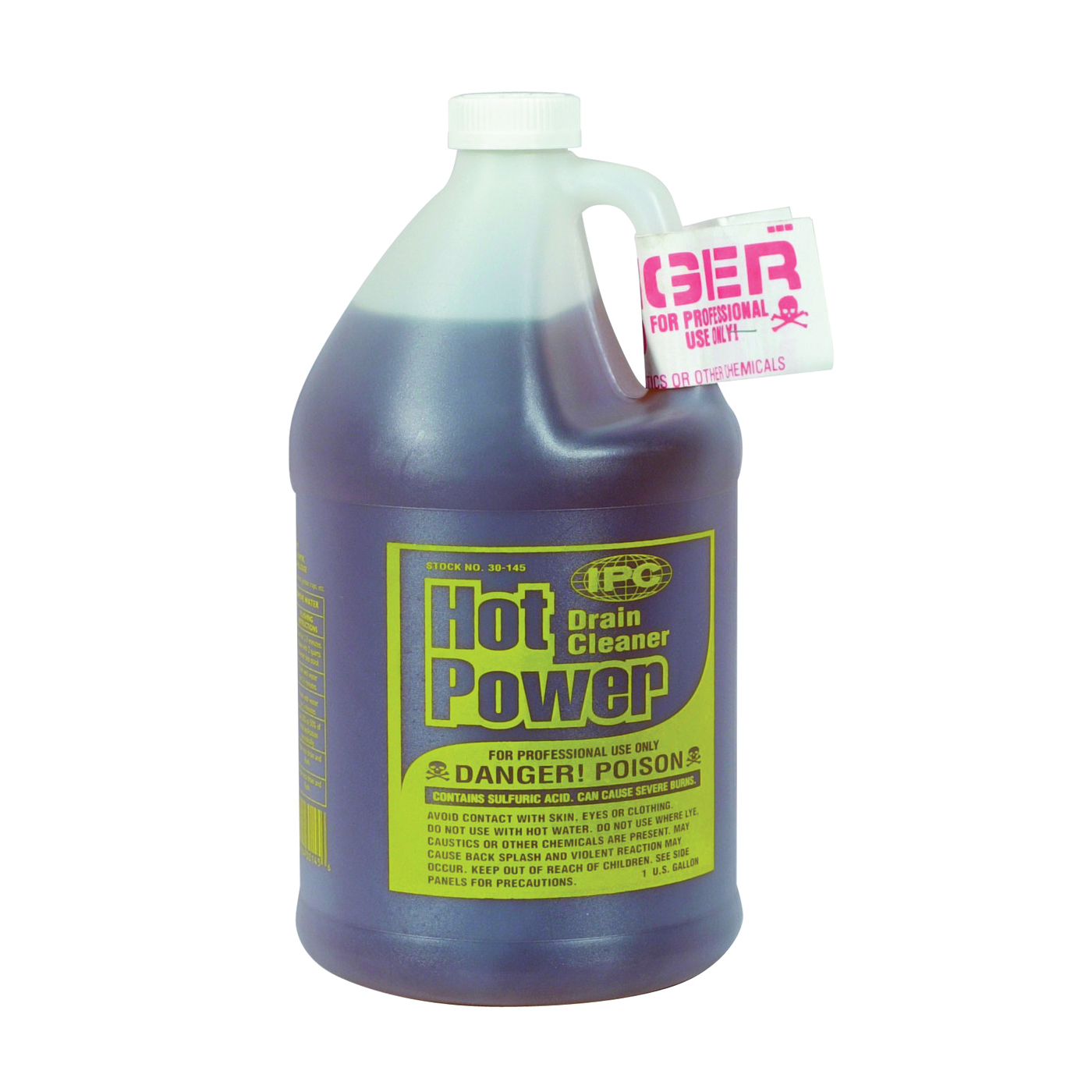 Picture of ComStar Hot Power 30-145 Drain Cleaner, Liquid, Amber, Sharp, 1 gal Package, Bottle