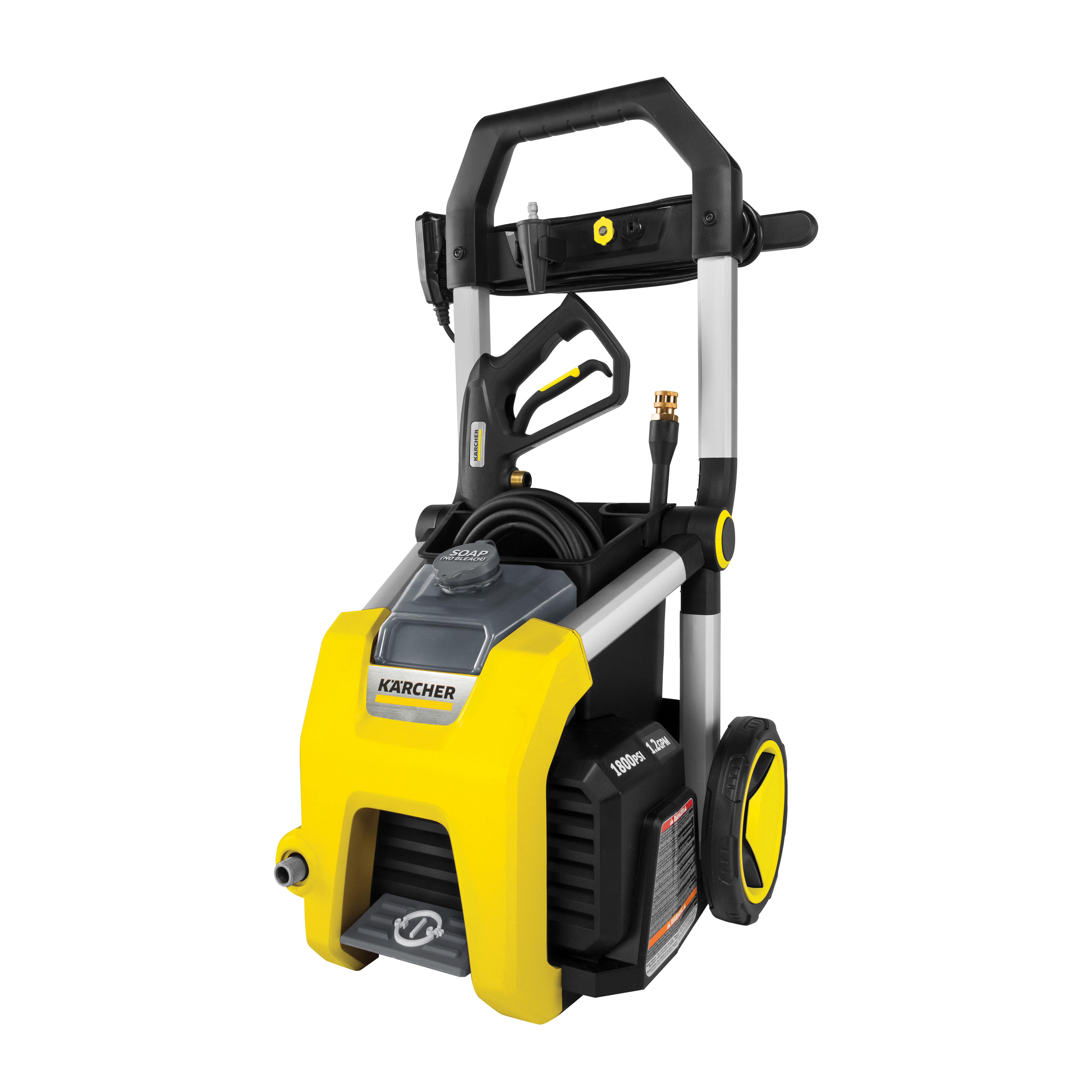 Picture of Karcher K1700 Pressure Washer, 13 A, 1700 psi Operating, 1.2 gpm, Spray Nozzle, 20 ft L Hose, Black/Yellow