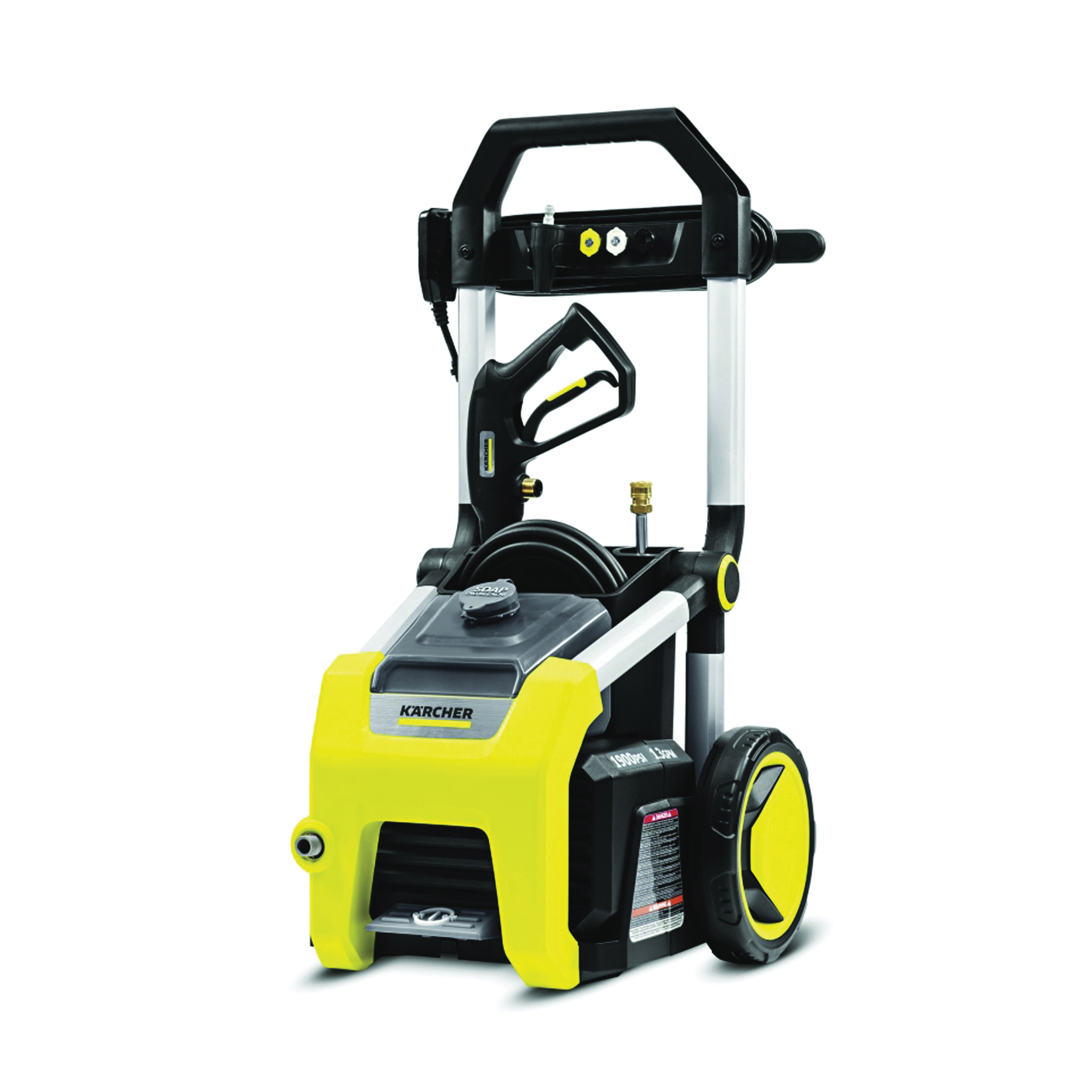 Picture of Karcher K1900 Pressure Washer, 13 A, 1900 psi Operating, 1.3 gpm, Spray Nozzle, 25 ft L Hose, Black/Yellow