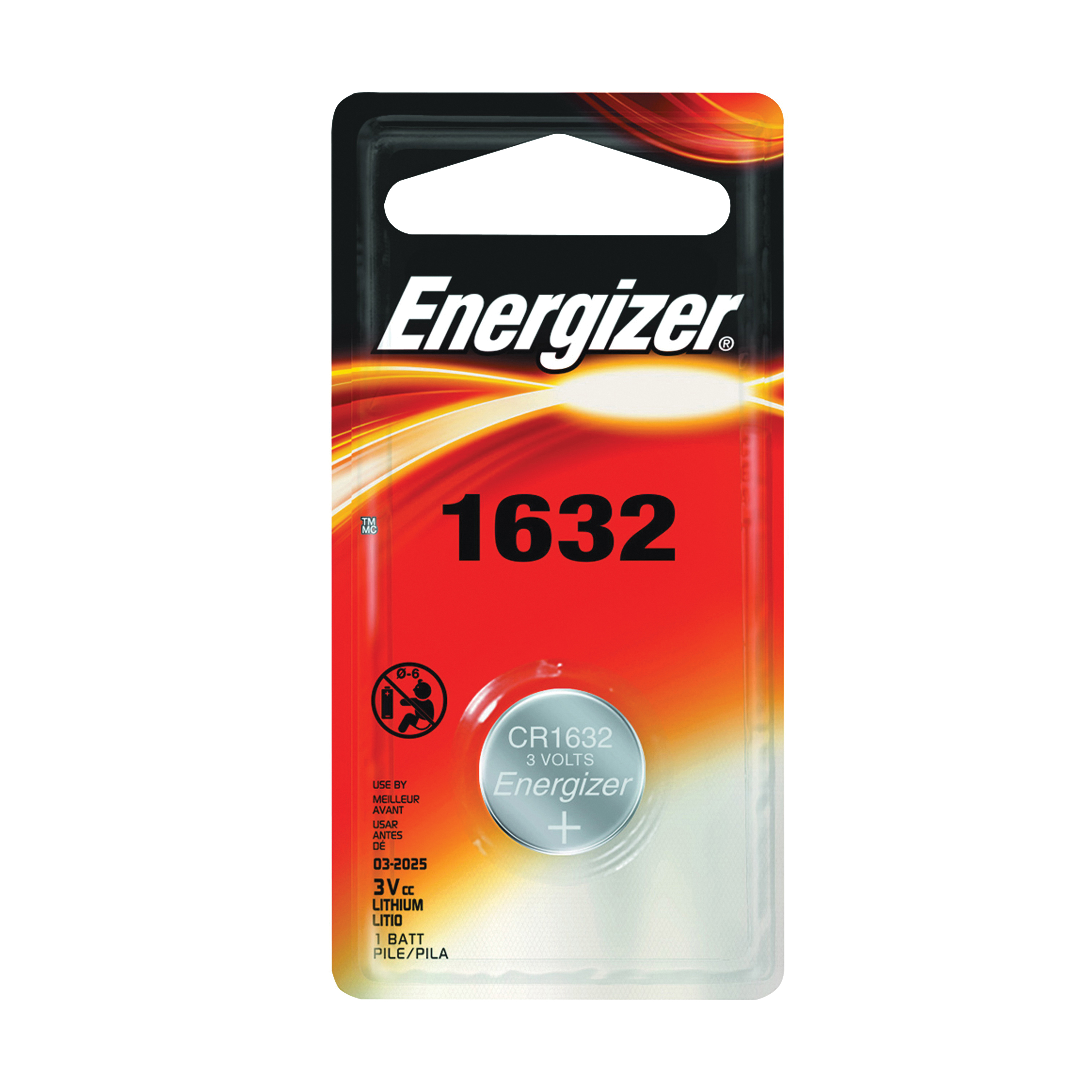 Picture of Energizer ECR1632BP Coin Cell Battery, 3 V Battery, 130 mAh, CR1632 Battery, Lithium, Manganese Dioxide