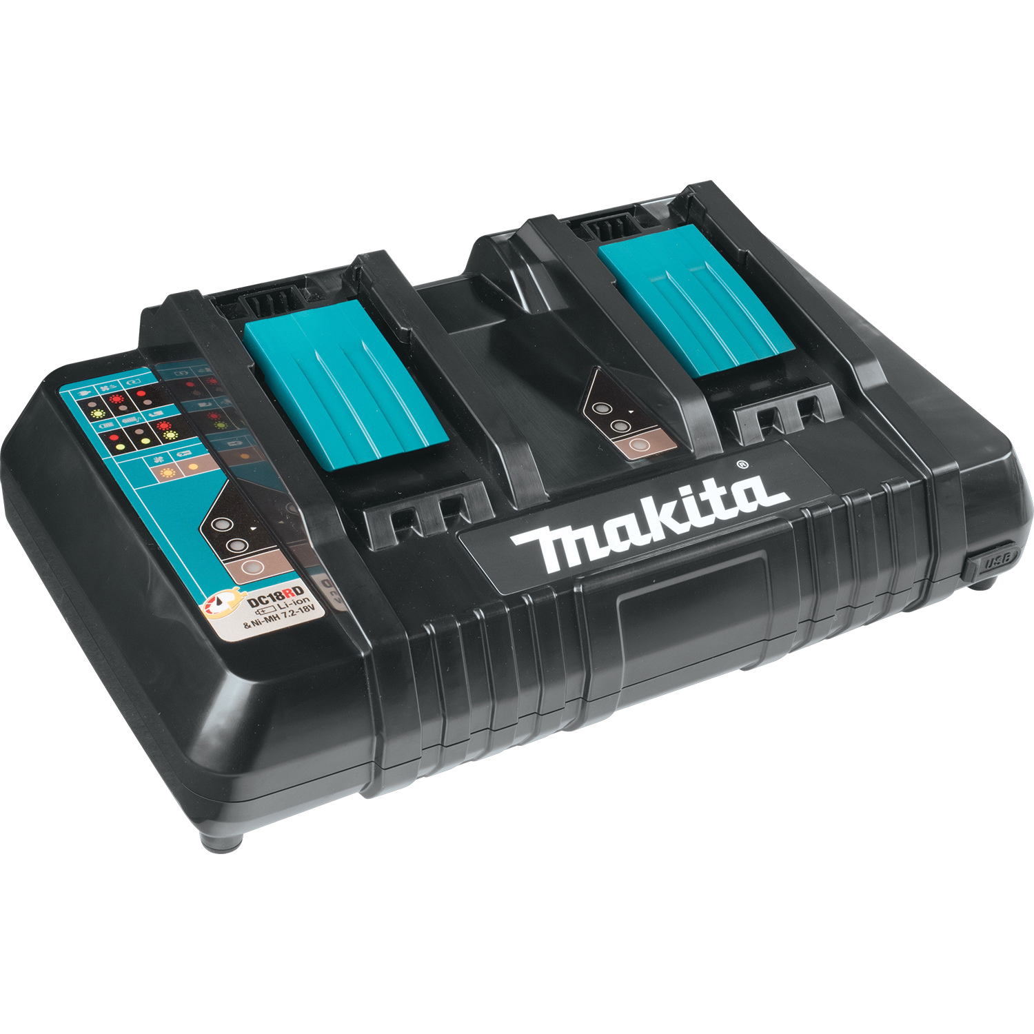 Picture of Makita DC18RD Dual Port Battery Charger, 14.4, 18 V Output, 2 to 6 Ah, Battery Included: No
