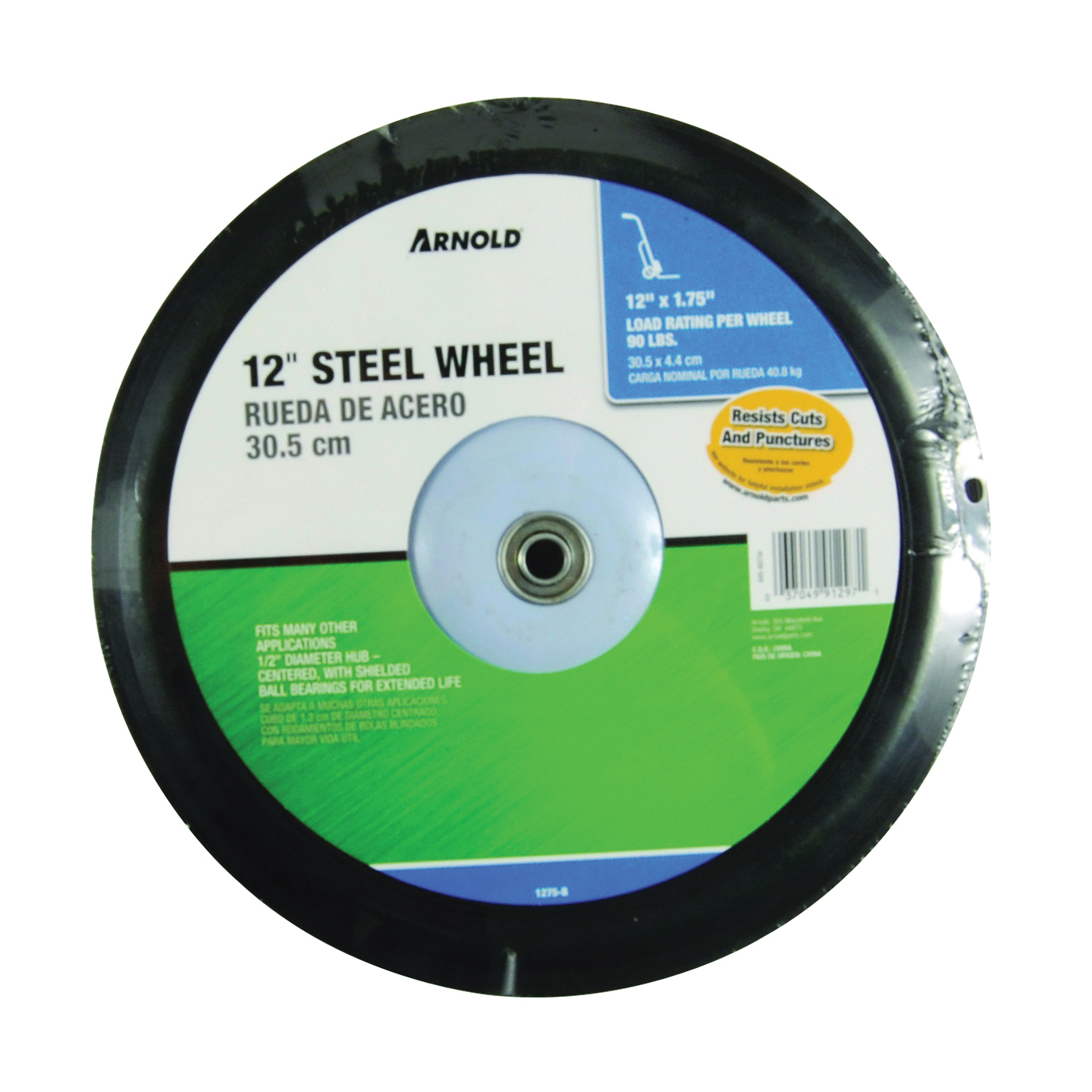 Picture of ARNOLD 1275-B Tread Wheel, Semi-Pneumatic, Steel, For: Lawn Mowers