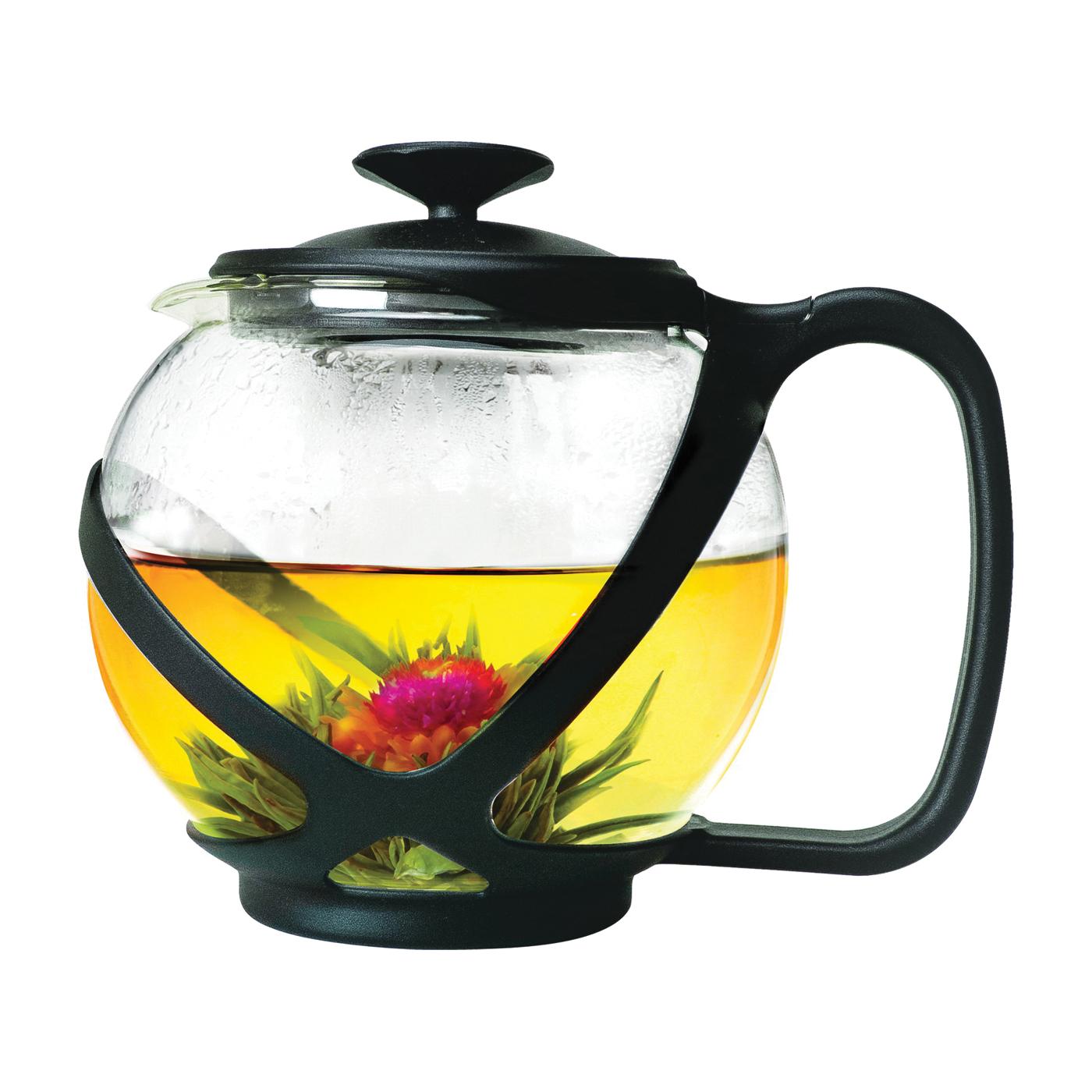 Picture of Primula Tempo PTA-2340 Teapot, 40 oz Capacity, Borosilicate Glass, Black/Red