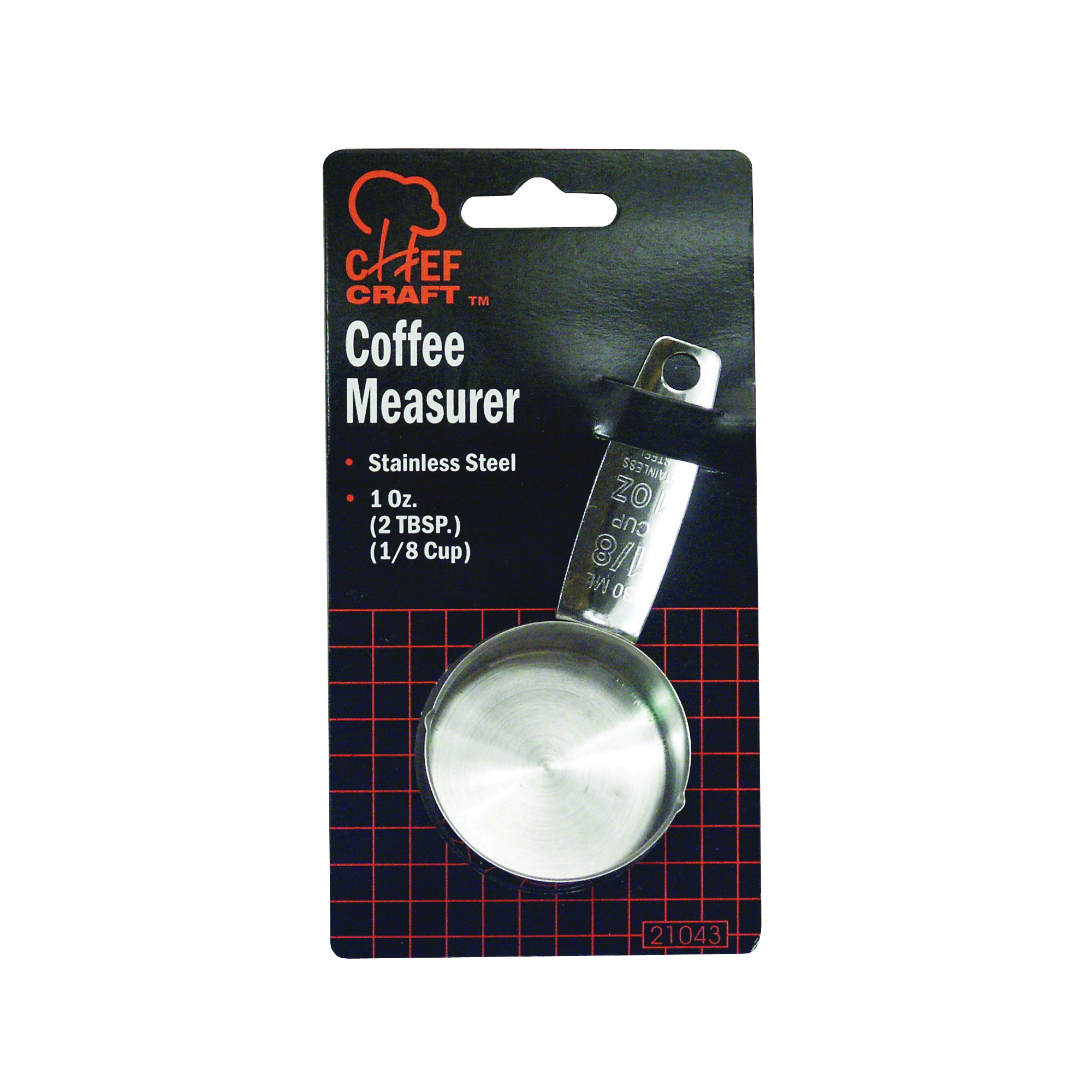Picture of CHEF CRAFT 21043 Coffee Measure, 1 oz Capacity, Metric Graduation, Stainless Steel, Silver