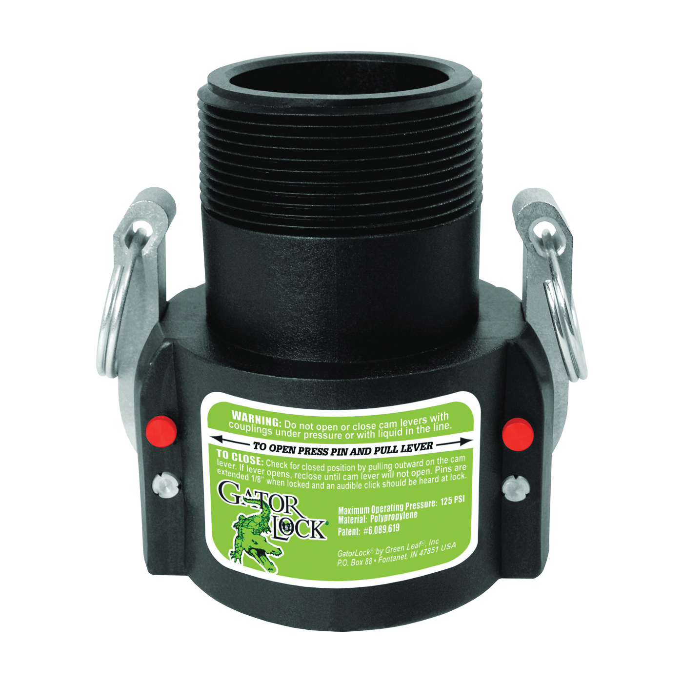 Picture of GREEN LEAF GLP 200 B Cam Lever Coupling, 2 in, Female x MNPT, Glass Filled Polypropylene