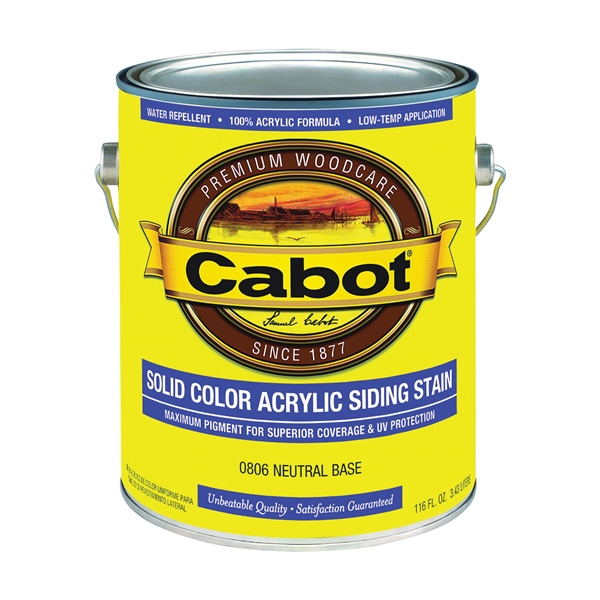 Picture of Cabot 800 Series 806-1GAL Solid Color Siding Stain, Natural Flat, Liquid, 1 gal, Can