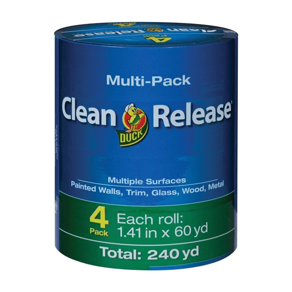 Picture of Duck Clean Release 240460 Painter's Tape, 60 yd L, 1.41 in W, Blue, 4, Roll