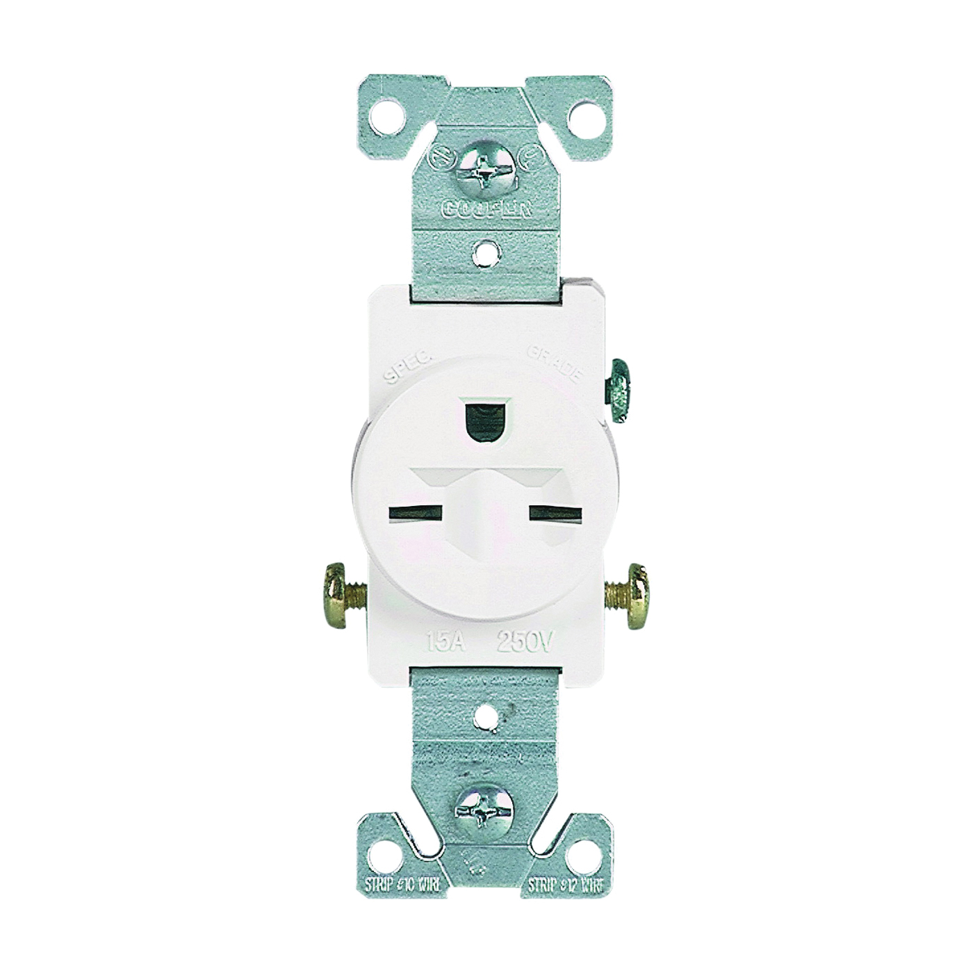 Picture of Eaton Wiring Devices 816W-BOX Single Receptacle, 2-Pole, 250 V, 15 A, Side Wiring, NEMA 6-15R, White