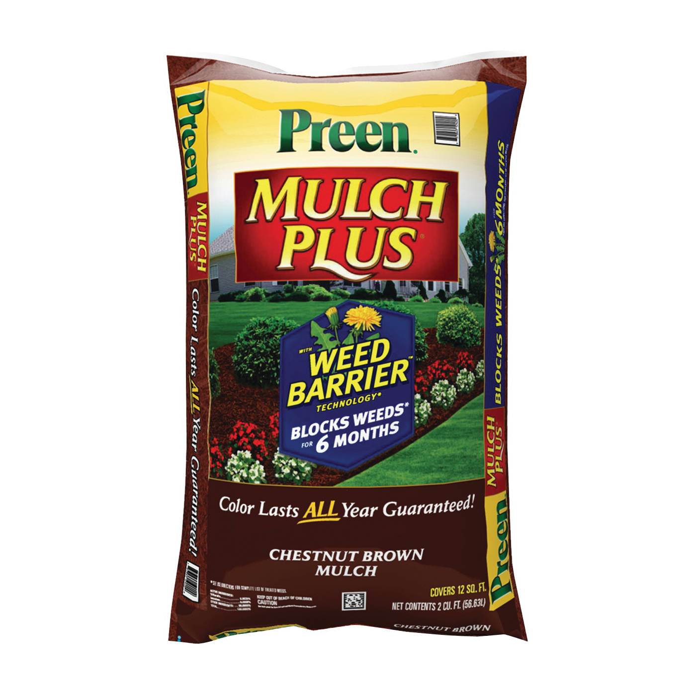 Picture of Preen 52050661 Mulch Plus Weed Barrier, Granular, Chestnut Brown