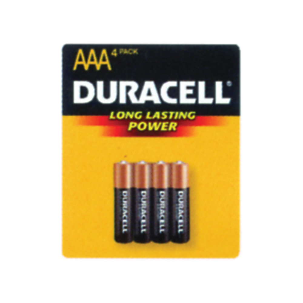 Picture of DURACELL MN2400B4Z AAA Alkaline Battery, 1.5 V Battery, 1.15 Ah, AAA Battery, Manganese Dioxide, 4/PK