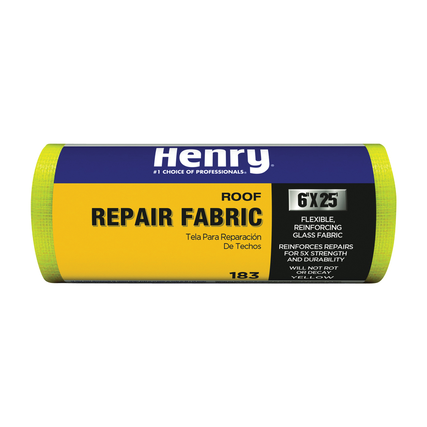 Picture of Henry 183 Series HE183196 Roof Repair Fabric, 25 ft L, 6 in W, Fiberglass, Yellow