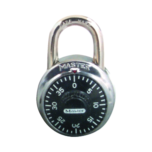 Picture of Master Lock 1500T Combination Dial Padlock, 9/32 in Dia Shackle, 3/4 in H Shackle, Steel Shackle, Nickel