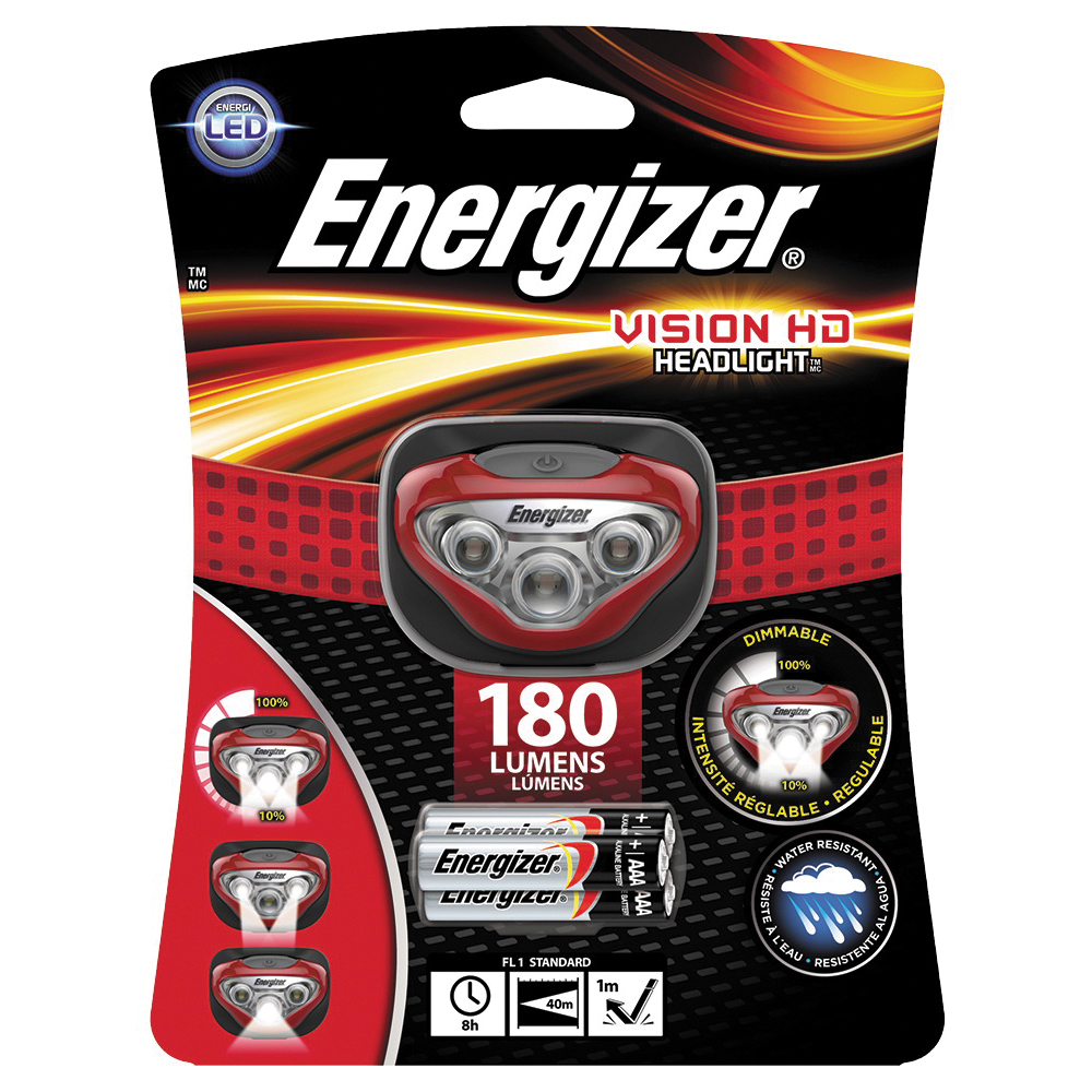 Picture of Energizer HDB32E Vision HD Headlight, AAA Battery, LED Lamp, 180 Lumens, 40 m Beam Distance, 8 hr Run Time