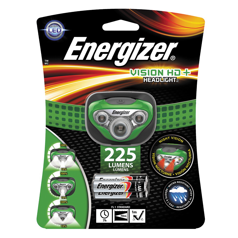 Picture of Energizer HDC32E Headlight, AAA Battery, LED Lamp, 200 Lumens, 70 m Beam Distance, 6 hr Run Time