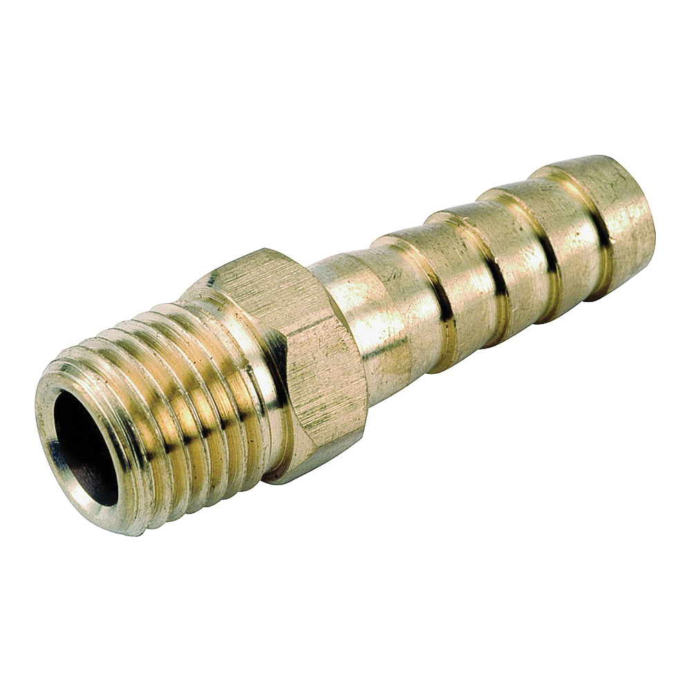 Picture of Anderson Metals 757001-0302 Hose Adapter, 3/16 x 1/8 in, Barb x MPT, Brass