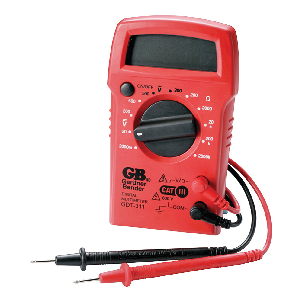 Picture of GB GDT-311 Digital Multimeter, 500 VAC, 600 VDC, 2 MOhm, LCD Display, Functions: AC Voltage, DC Voltage, Resistance