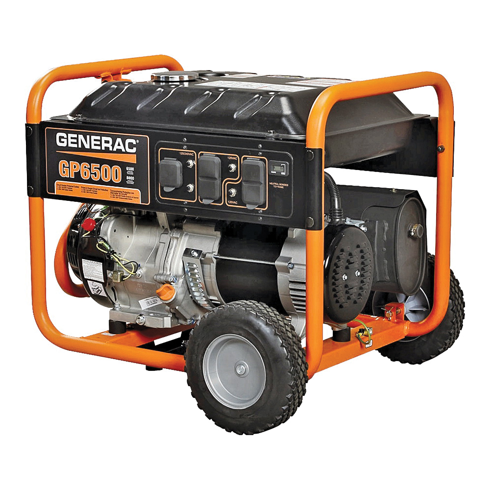 Picture of GENERAC 5976 Portable Generator, 54.2/27.1 A, 120/240 V, Gas, 6.77 gal Tank, 10 hr Run Time, Recoil Start