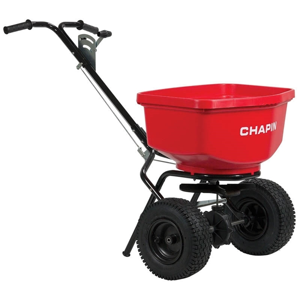 Picture of CHAPIN 8303C Contractor Turf Spreader, 100 lb Capacity, Steel Frame, Poly Hopper, Pneumatic Wheel