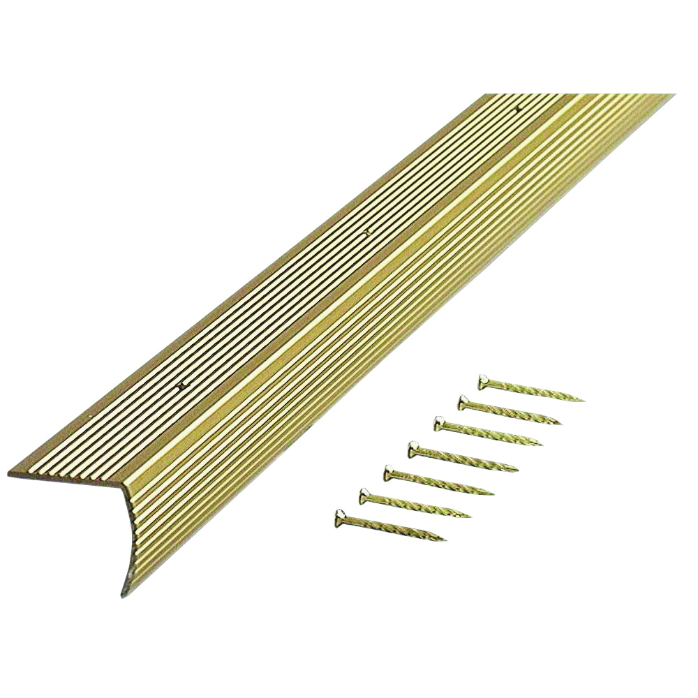 Picture of M-D 79103 Stair Edging, 73.63 in L, 1.28 in W, Aluminum, Satin Brass