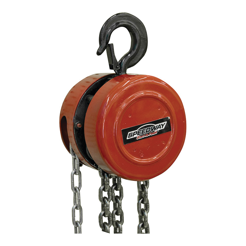 Picture of Speedway 7518 Chain Hoist, 1 ton Capacity, 9 ft 10 in H Lifting, 12-1/2 in Head Room