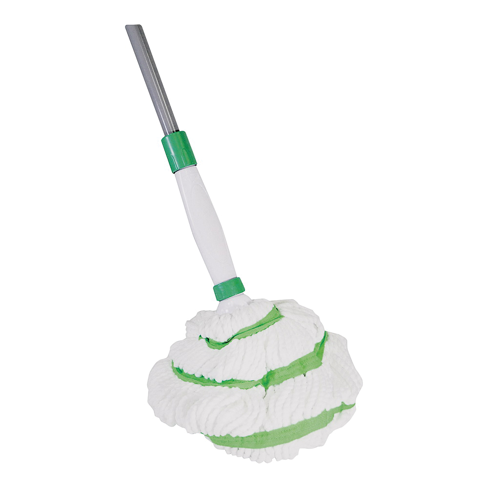 Picture of Quickie 036M-4 Wet Mop, 48 in L, Microfiber Cloth Mop Head, Green/White Mop Head, Steel Handle