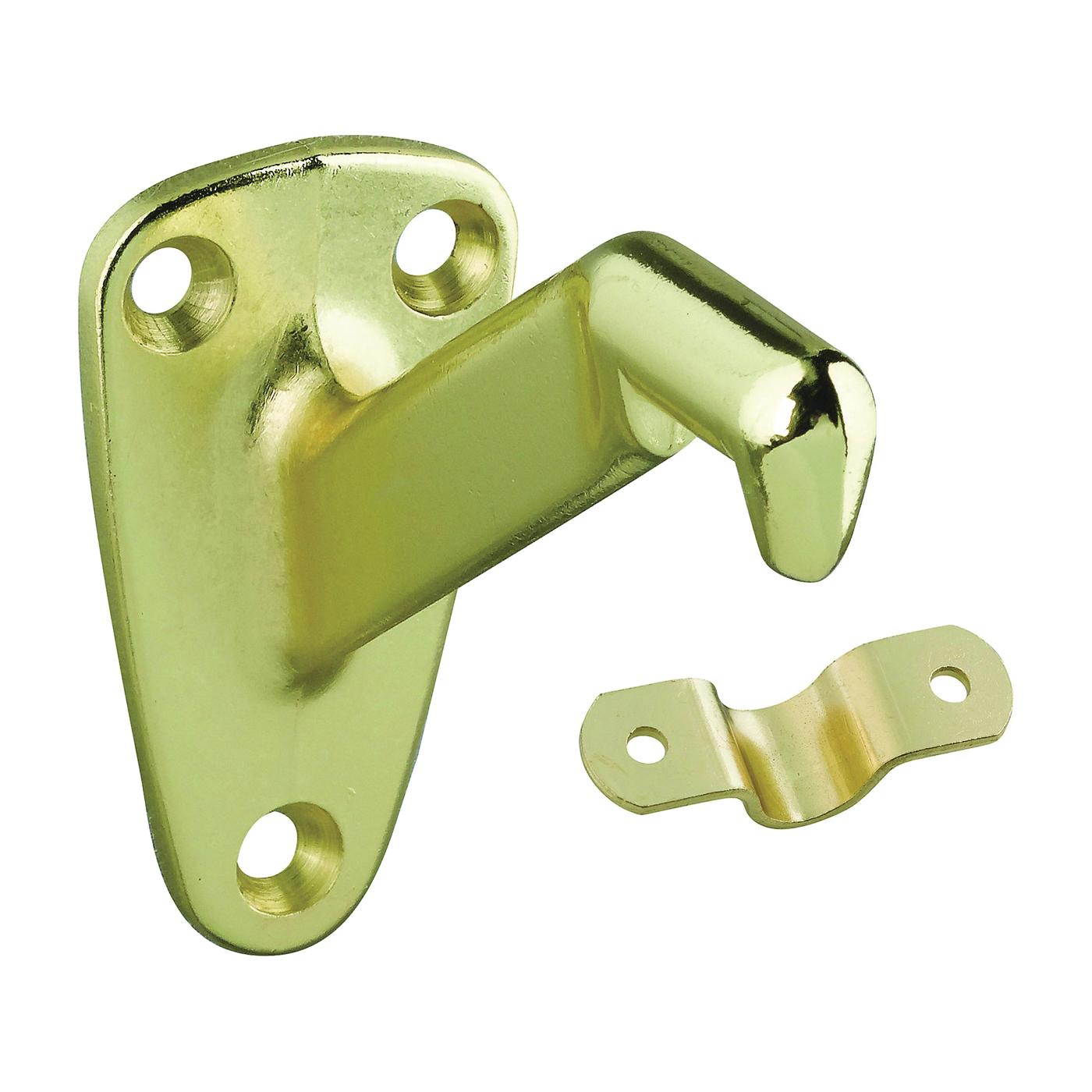 Picture of National Hardware N830-116 Handrail Bracket, 250 lb, Zinc, Polished Brass