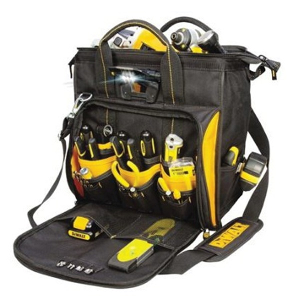 Picture of DeWALT DGL573 Lighted Tool Bag, 13 in W, 7 in D, 14 in H, 41 -Pocket, Polyester, Black/Yellow