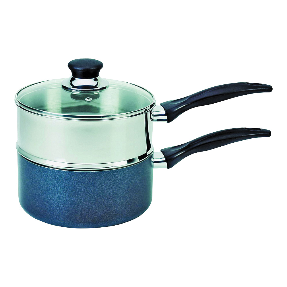 Picture of T-fal B363S284 Double Boiler Sauce Pan, 3 qt Capacity, Stainless Steel, Glass Cover/Lid