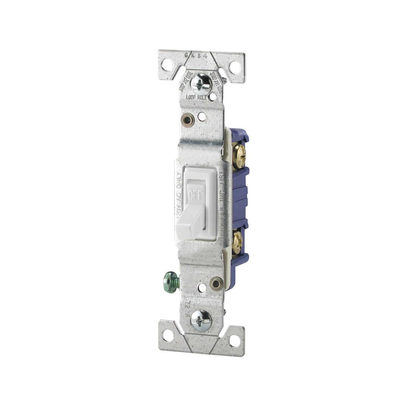 Picture of Eaton Wiring Devices 1301-7W Toggle Switch, 15 A, 120 V, Polycarbonate Housing Material, White