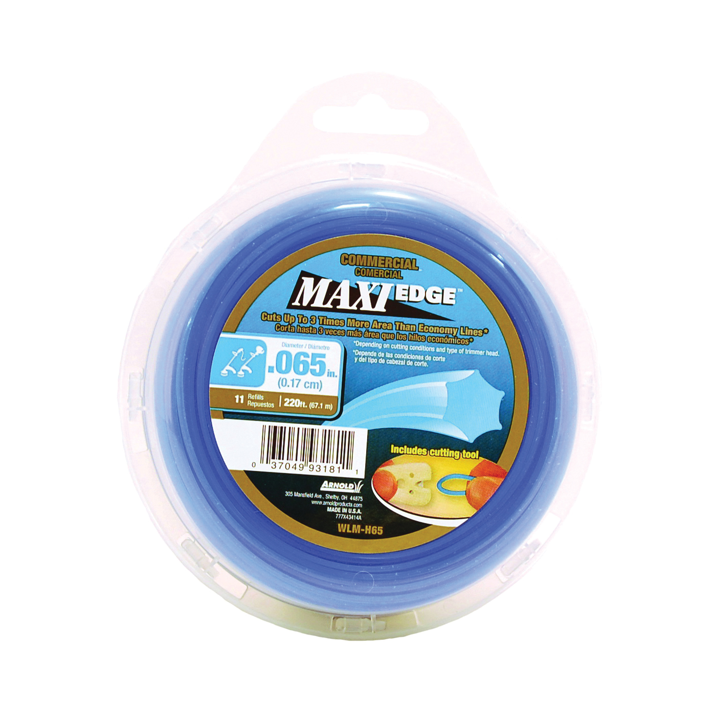 Picture of ARNOLD Maxi Edge WLM-H65 Trimmer Line, 0.065 in Dia, 220 ft L, Polymer, Blue