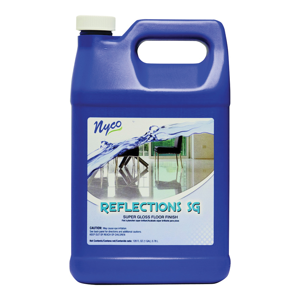 Picture of nyco NL90422-900104 Floor Polish, 128 oz Package, Liquid, Acrylic Polymer, White