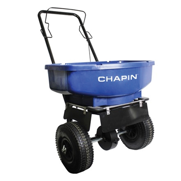 Picture of CHAPIN 81008A Salt and Ice Melt Spreader, 80 lb Capacity, Steel Frame, Poly Hopper, Pneumatic Wheel